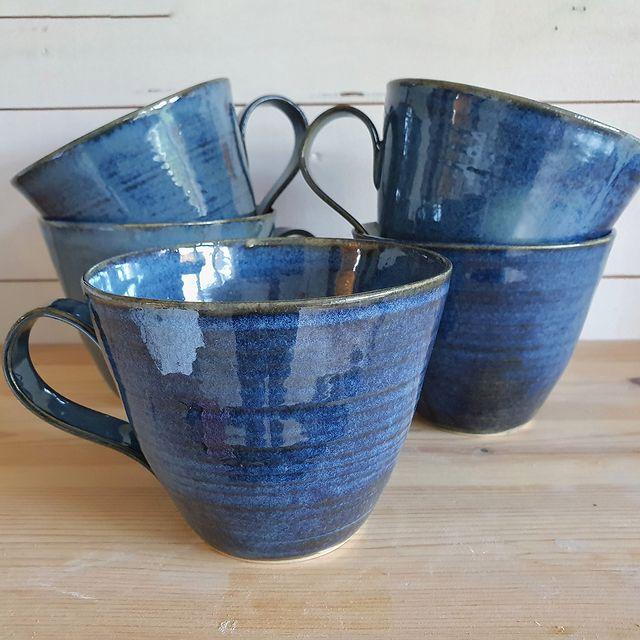 Tekopp blå glasyr